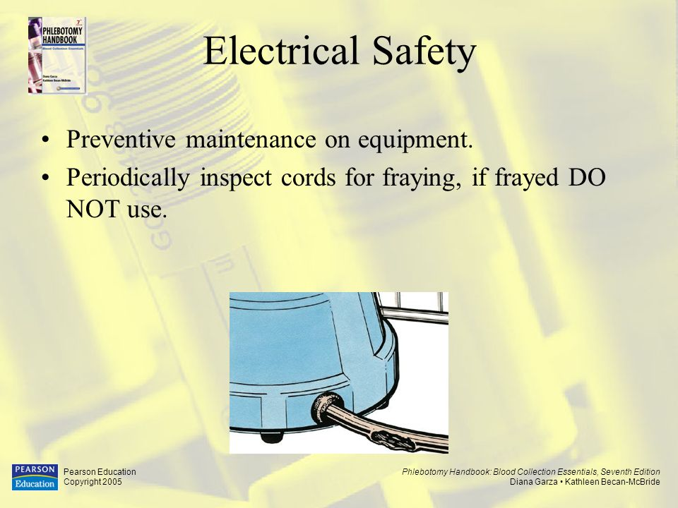 Electrical Safety Preventive maintenance on equipment.