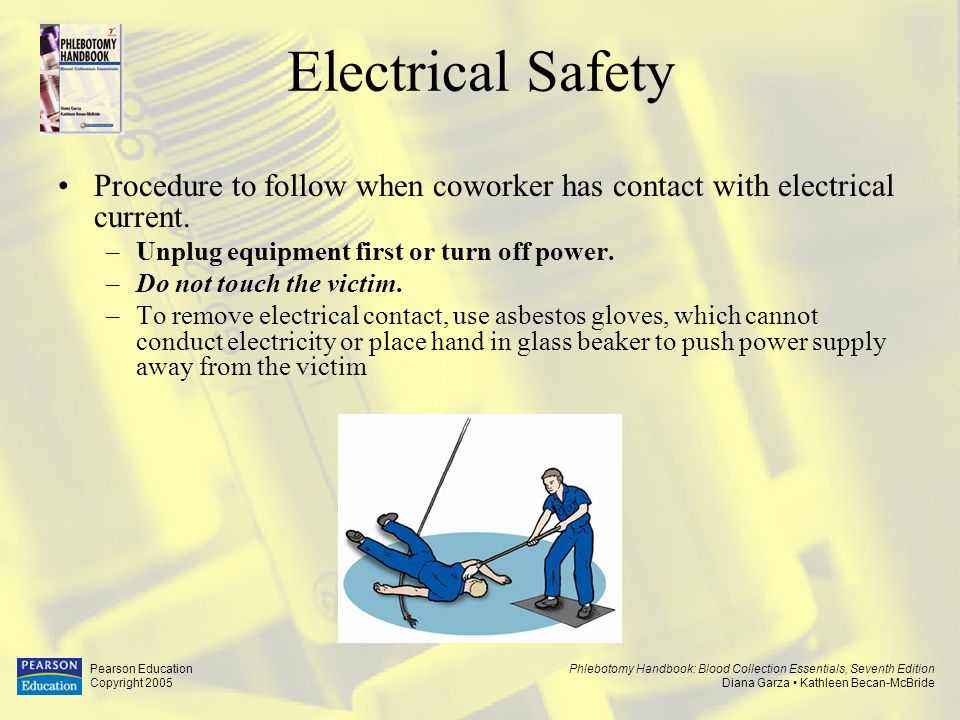 Electrical Safety Procedure to follow when coworker has contact with electrical current. Unplug equipment first or turn off power.