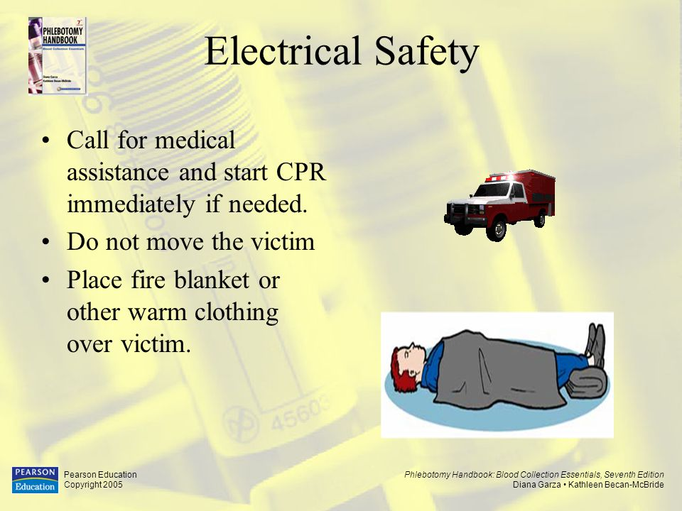 Electrical Safety Call for medical assistance and start CPR immediately if needed. Do not move the victim.