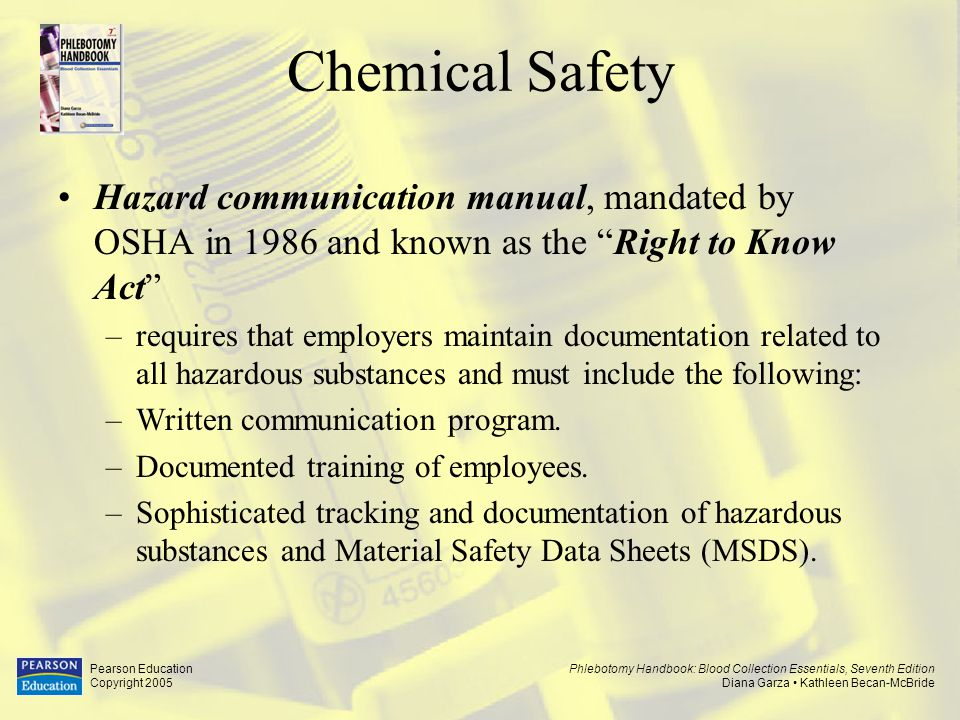 Chemical Safety Hazard communication manual, mandated by OSHA in 1986 and known as the Right to Know Act
