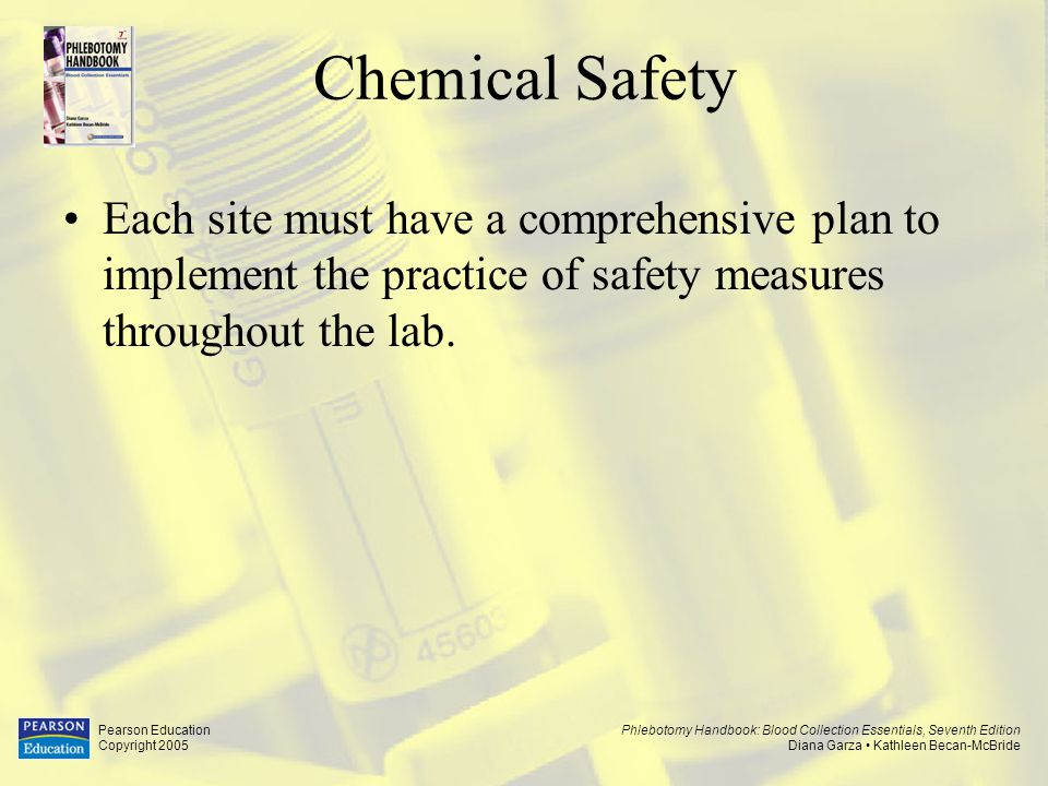 Chemical Safety Each site must have a comprehensive plan to implement the practice of safety measures throughout the lab.