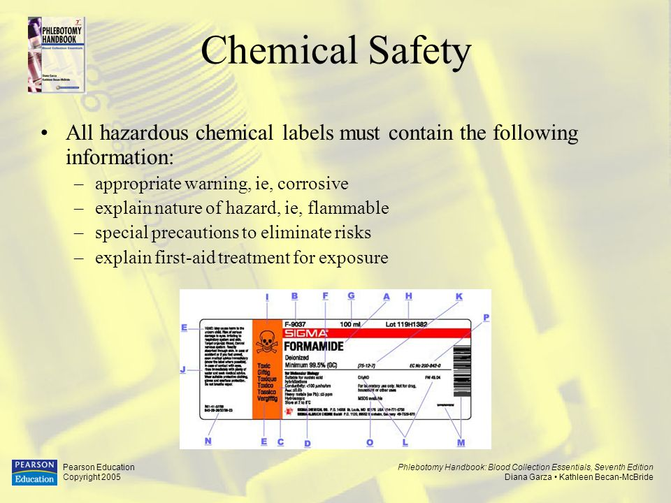 Chemical Safety All hazardous chemical labels must contain the following information: appropriate warning, ie, corrosive.