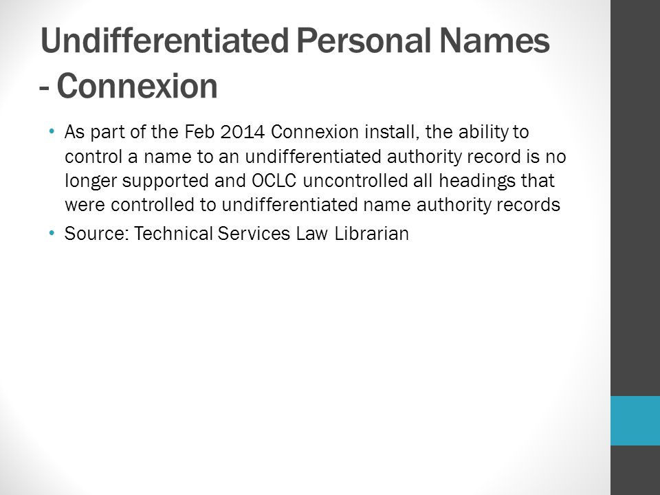 Undifferentiated Personal Names - Connexion