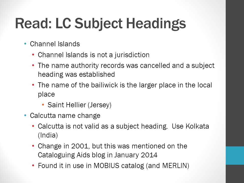 Read: LC Subject Headings