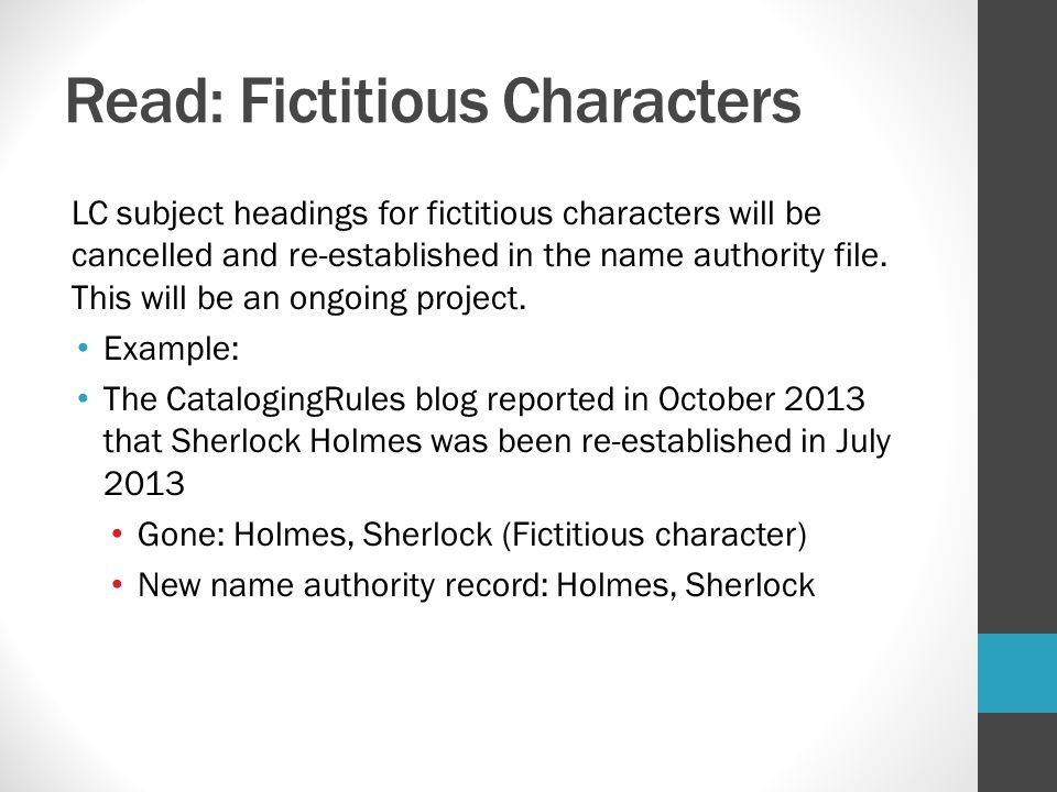Read: Fictitious Characters