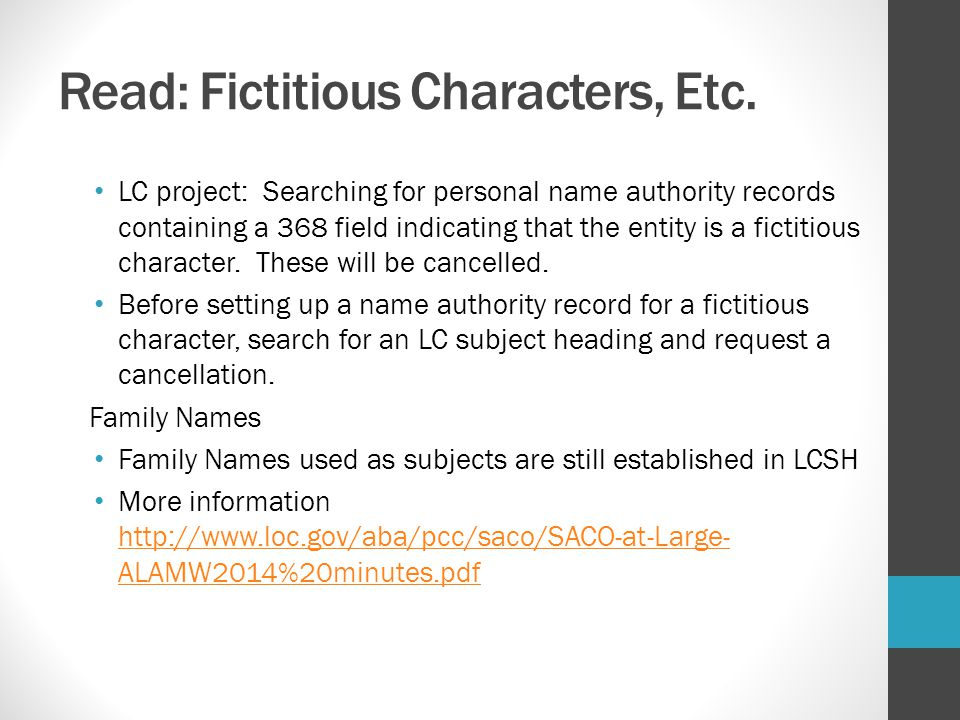 Read: Fictitious Characters, Etc.