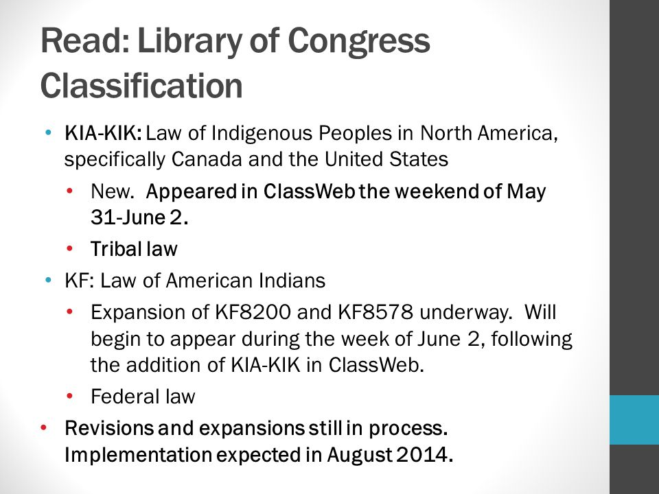 Read: Library of Congress Classification