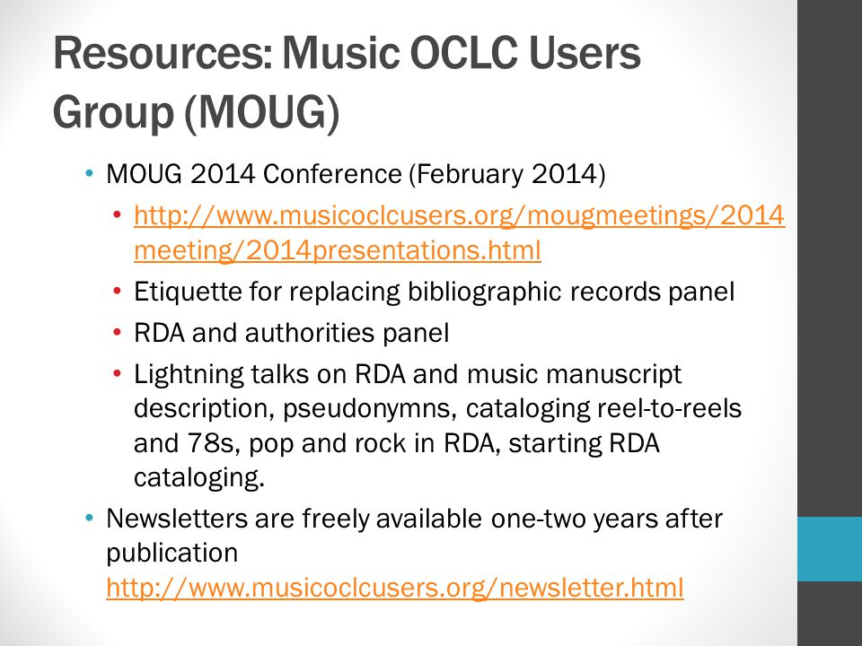 Resources: Music OCLC Users Group (MOUG)