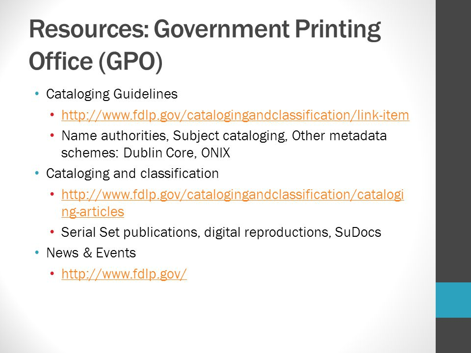 Resources: Government Printing Office (GPO)