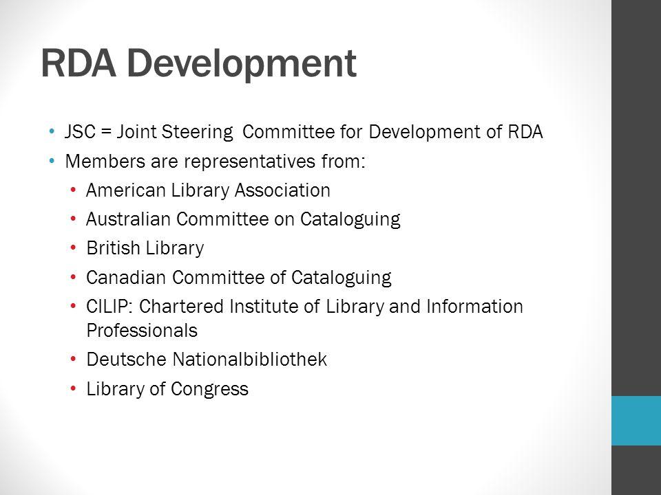 RDA Development JSC = Joint Steering Committee for Development of RDA