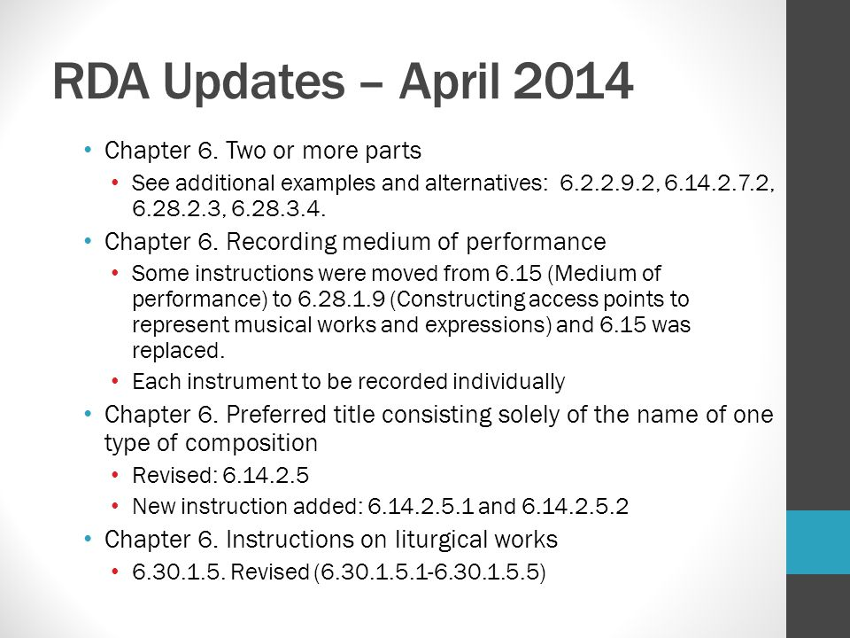 RDA Updates – April 2014 Chapter 6. Two or more parts