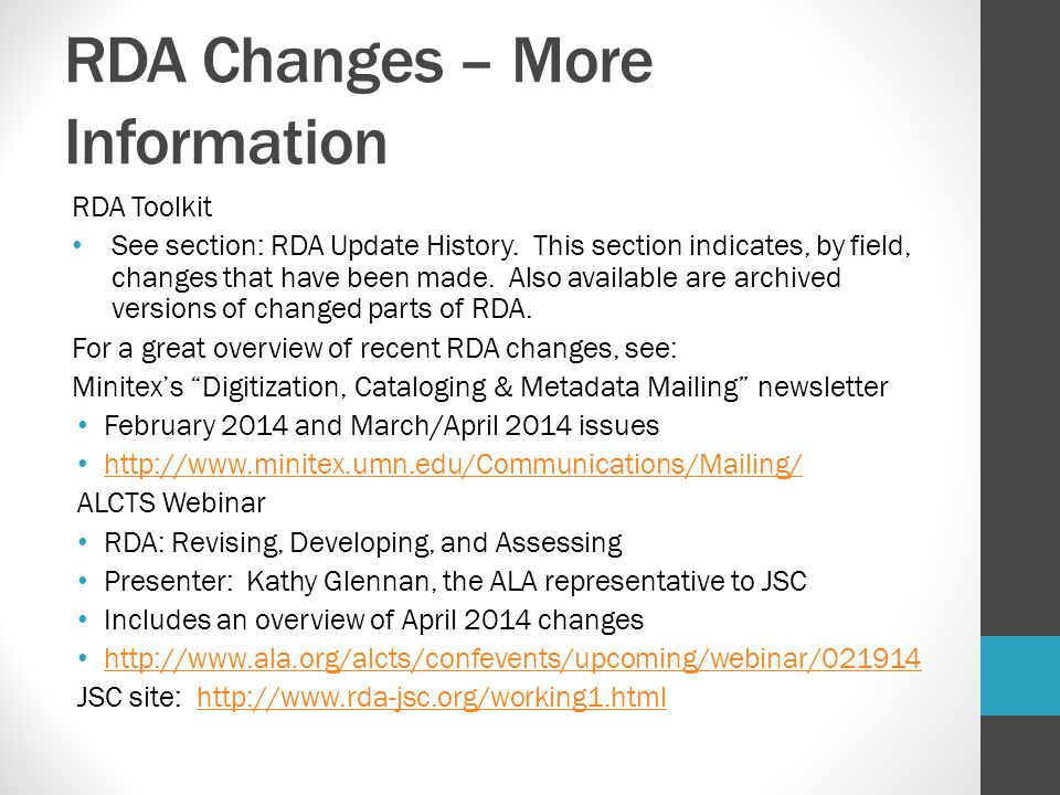 RDA Changes – More Information
