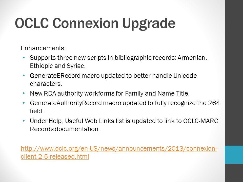 OCLC Connexion Upgrade