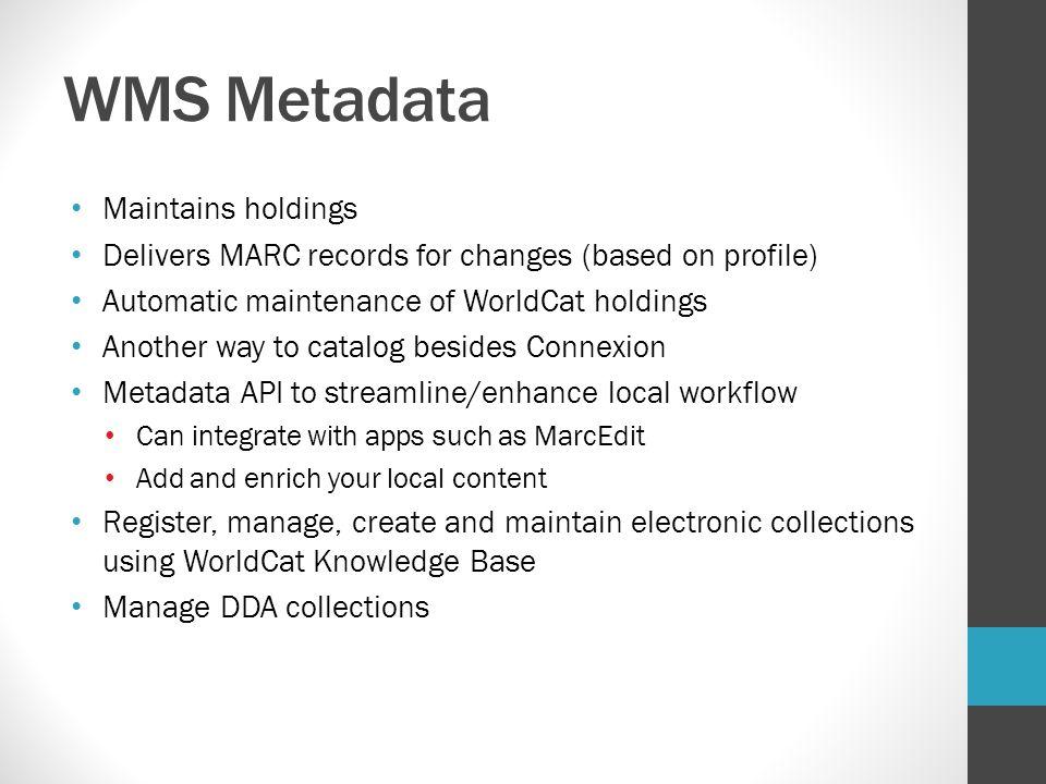 WMS Metadata Maintains holdings