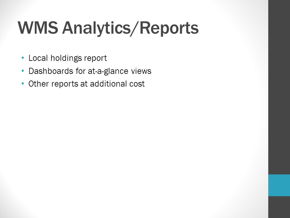 WMS Analytics/Reports