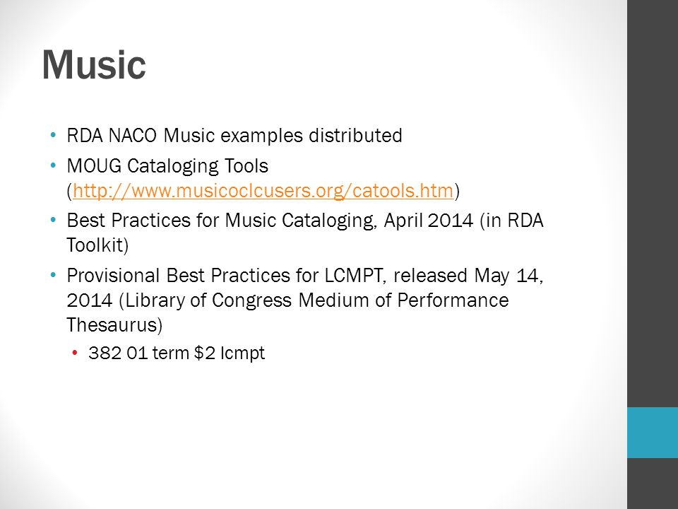 Music RDA NACO Music examples distributed