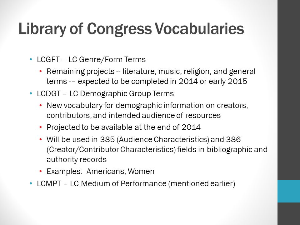 Library of Congress Vocabularies