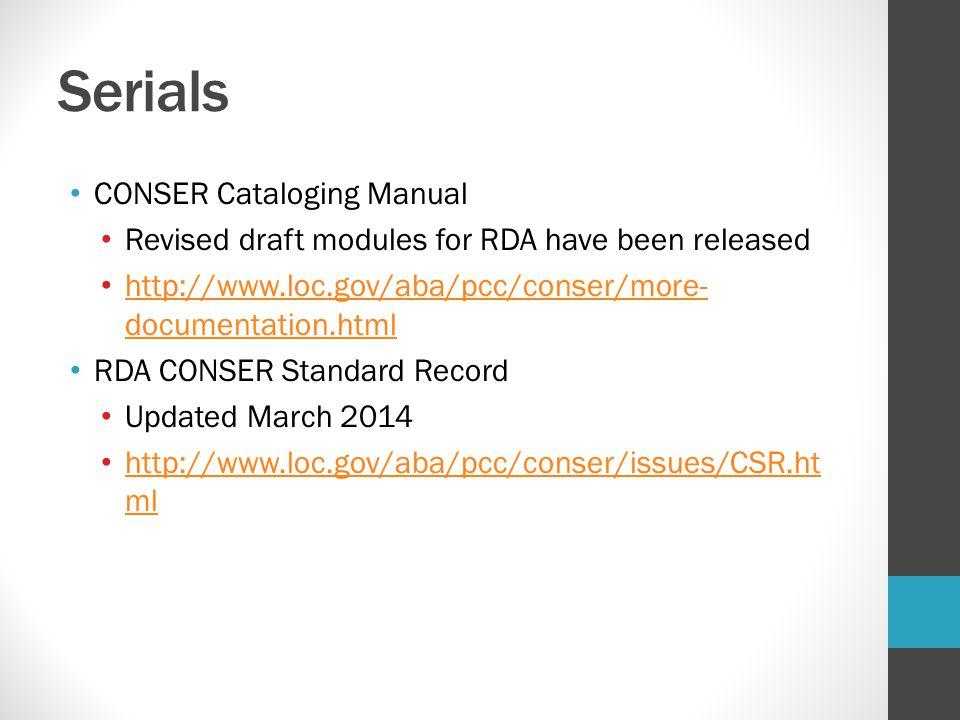 Serials CONSER Cataloging Manual