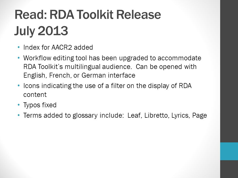 Read: RDA Toolkit Release July 2013