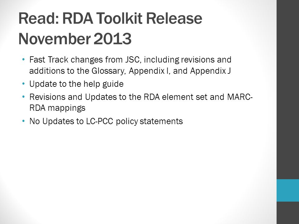 Read: RDA Toolkit Release November 2013