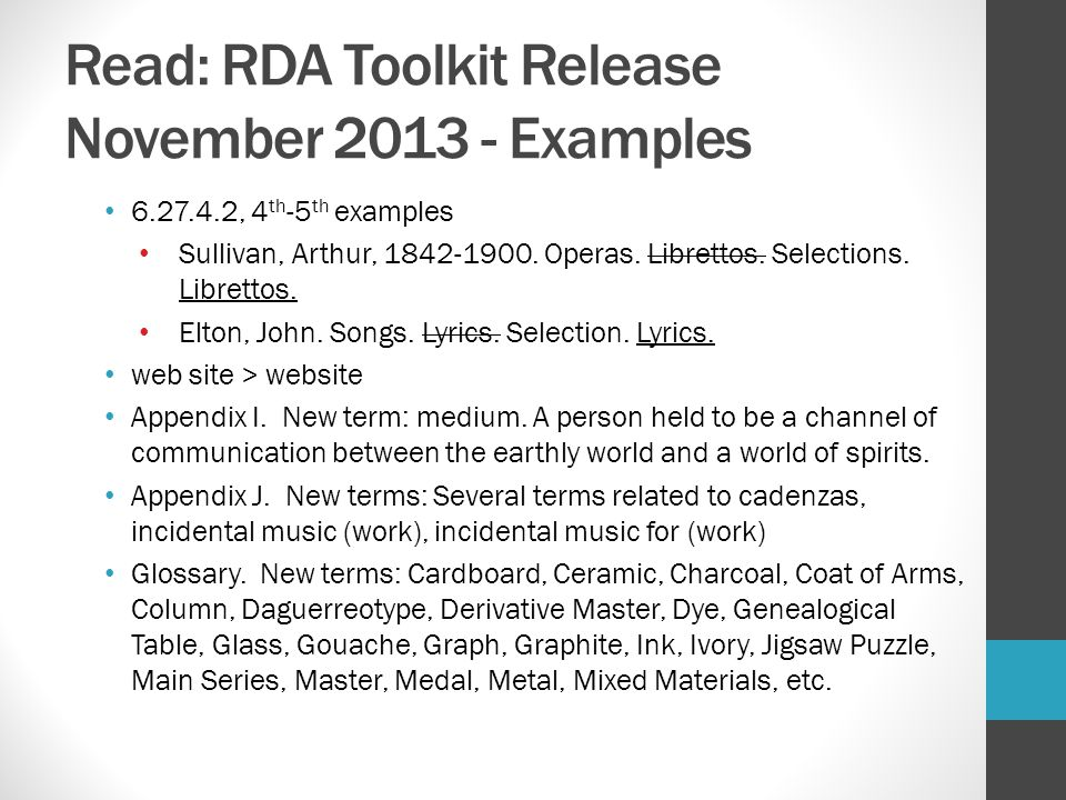 Read: RDA Toolkit Release November 2013 - Examples