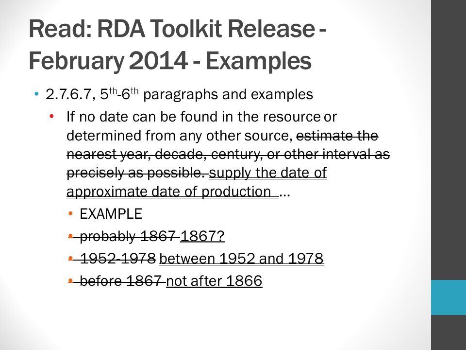 Read: RDA Toolkit Release - February 2014 - Examples