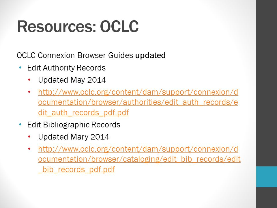 Resources: OCLC OCLC Connexion Browser Guides updated