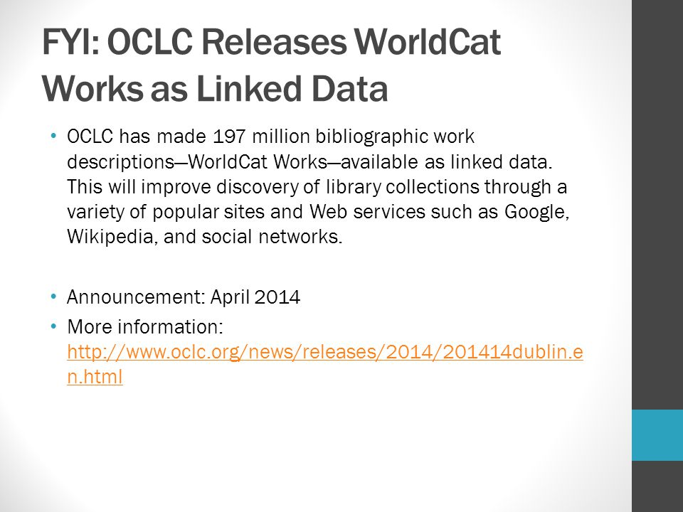 FYI: OCLC Releases WorldCat Works as Linked Data