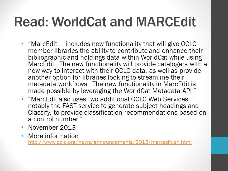 Read: WorldCat and MARCEdit