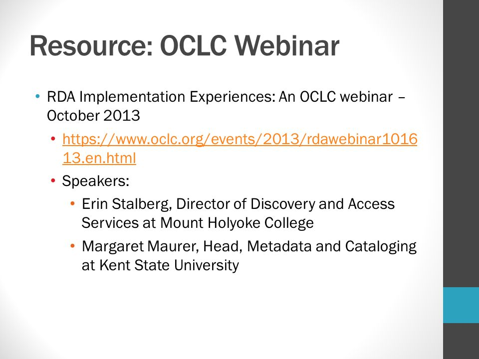 Resource: OCLC Webinar