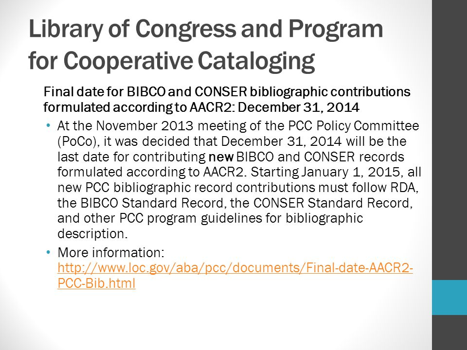 Library of Congress and Program for Cooperative Cataloging