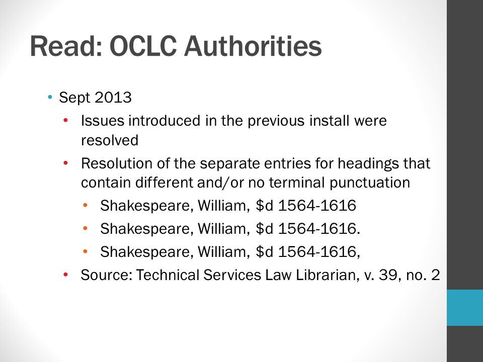 Read: OCLC Authorities