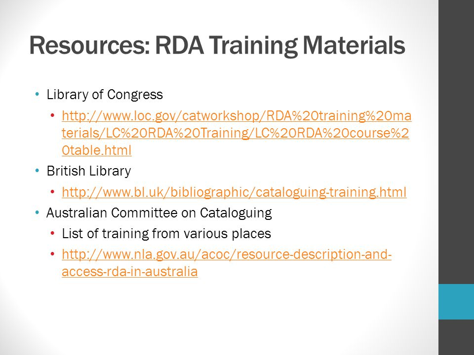 Resources: RDA Training Materials