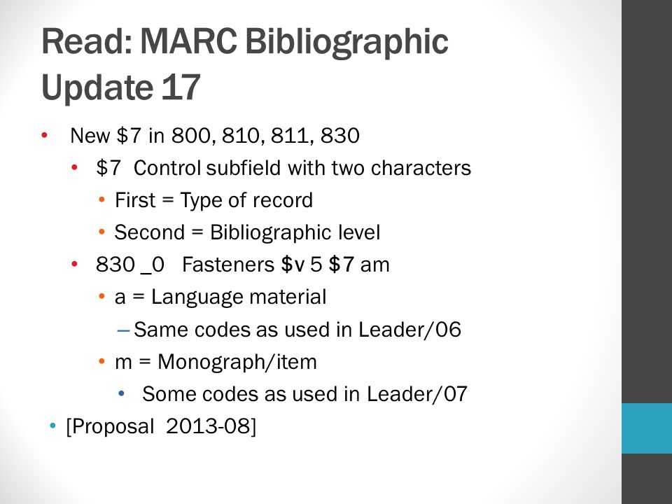 Read: MARC Bibliographic Update 17