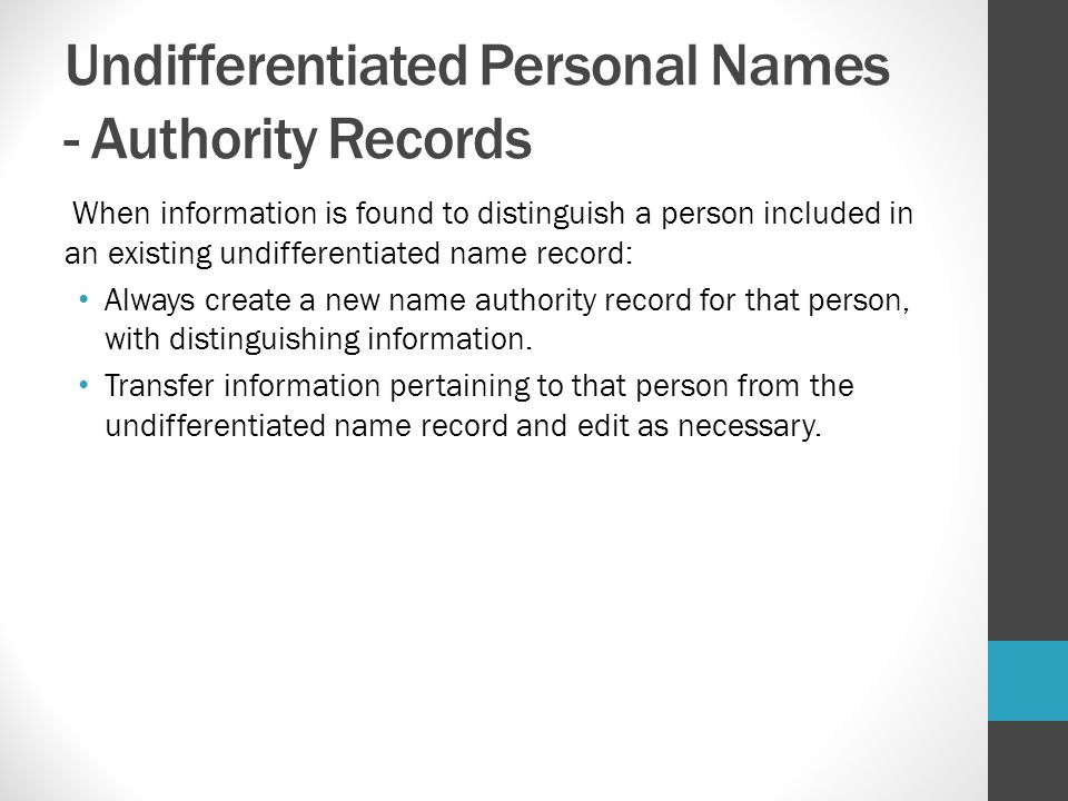 Undifferentiated Personal Names - Authority Records