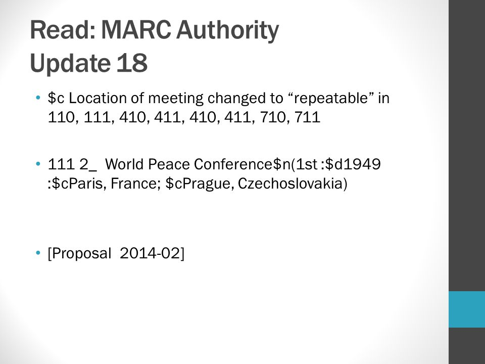 Read: MARC Authority Update 18