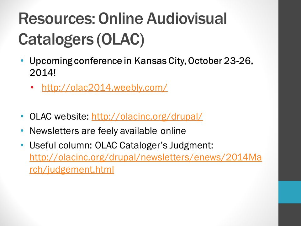 Resources: Online Audiovisual Catalogers (OLAC)