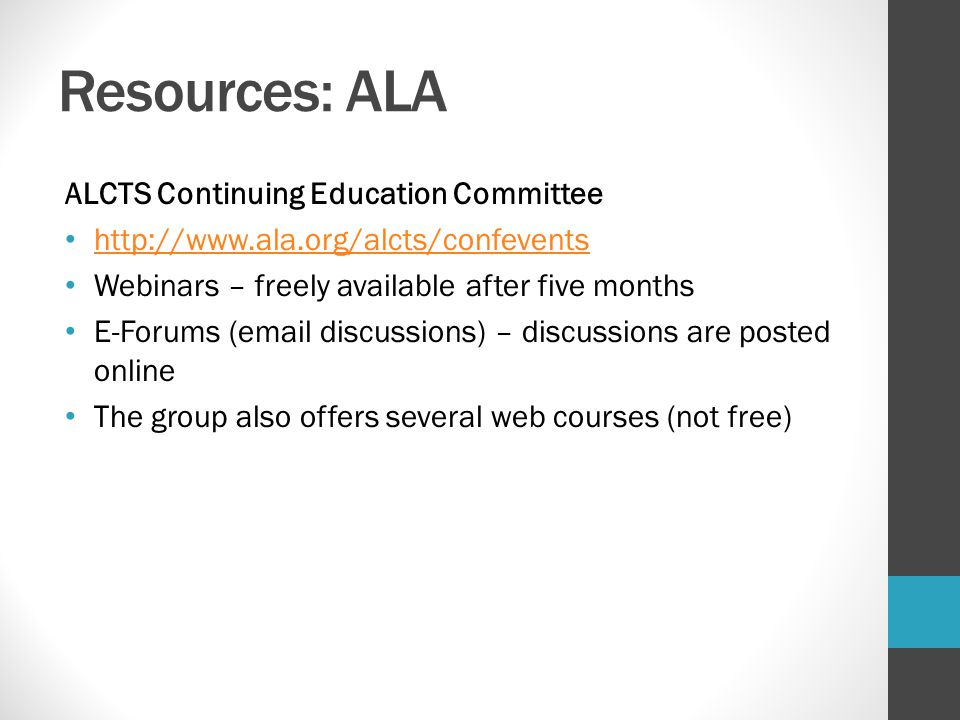 Resources: ALA ALCTS Continuing Education Committee