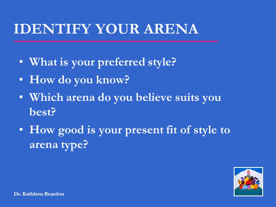 IDENTIFY YOUR ARENA What is your preferred style How do you know