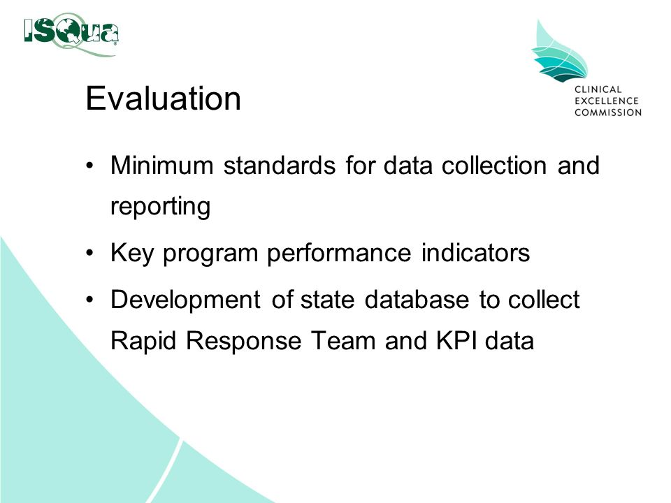 Evaluation Minimum standards for data collection and reporting