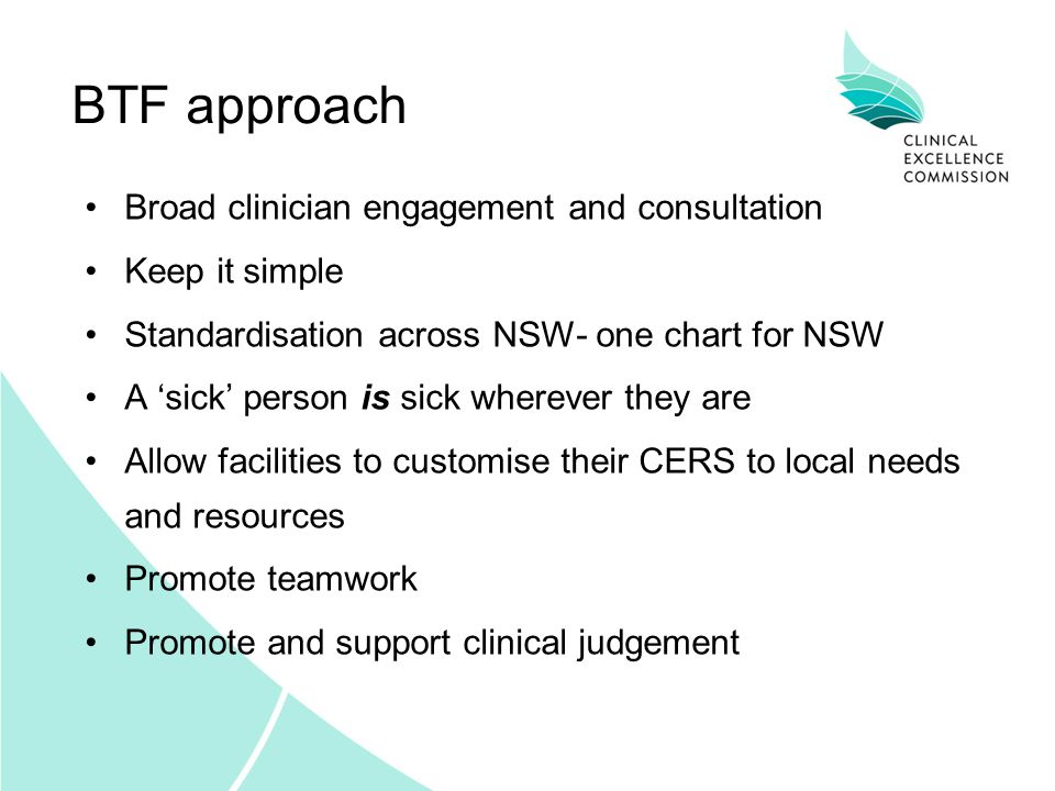 BTF approach Broad clinician engagement and consultation