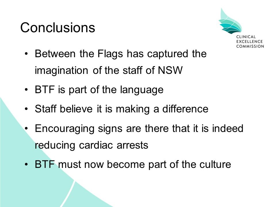 Conclusions Between the Flags has captured the imagination of the staff of NSW. BTF is part of the language.