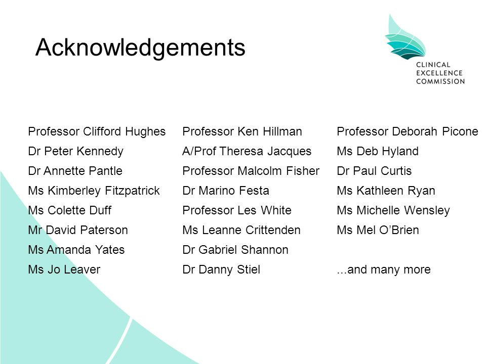 Acknowledgements Professor Clifford Hughes Professor Ken Hillman