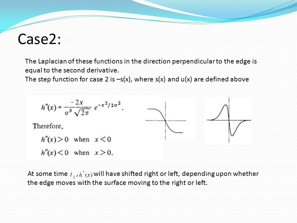 Case2: The Laplacian of these functions in the direction perpendicular to the edge is equal to the second derivative.