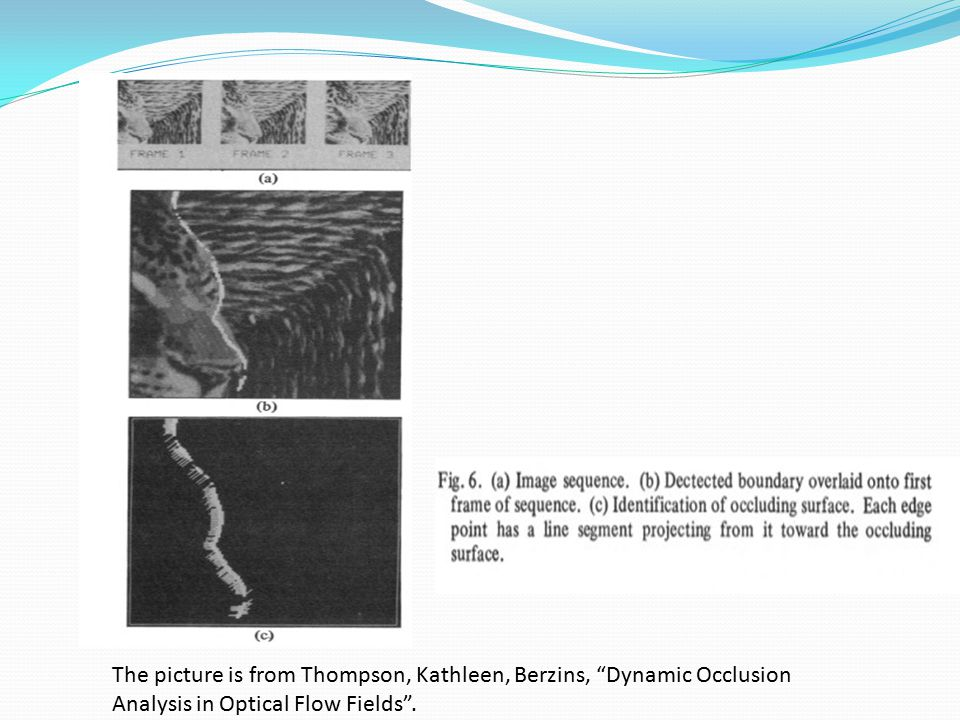 The picture is from Thompson, Kathleen, Berzins, Dynamic Occlusion Analysis in Optical Flow Fields .