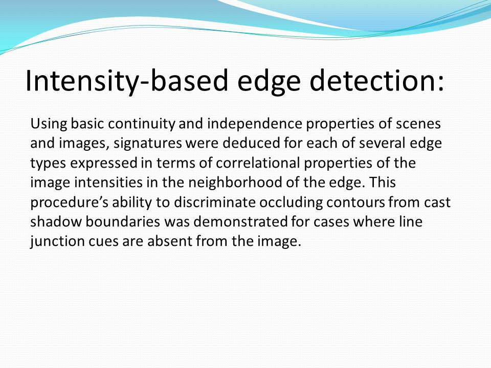 Intensity-based edge detection: