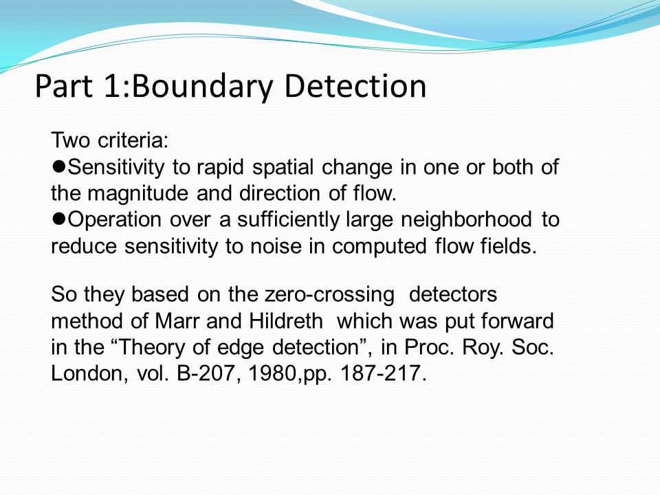 Part 1:Boundary Detection
