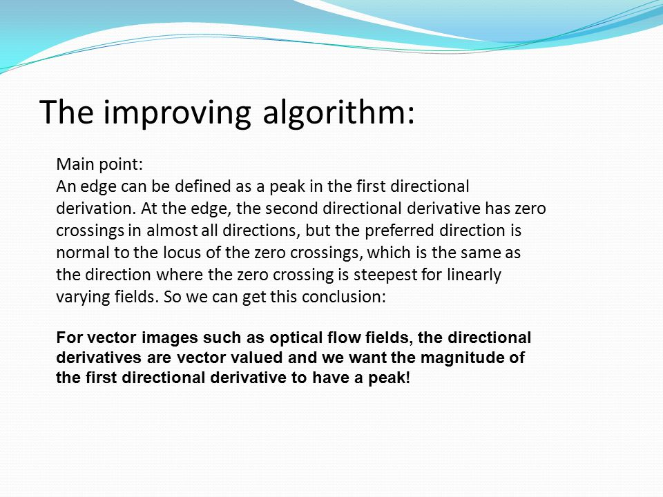 The improving algorithm:
