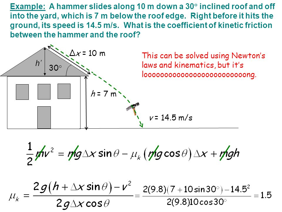 Example: A hammer slides along 10 m down a 30 inclined roof and off into the yard, which is 7 m below the roof edge. Right before it hits the ground, its speed is 14.5 m/s. What is the coefficient of kinetic friction between the hammer and the roof