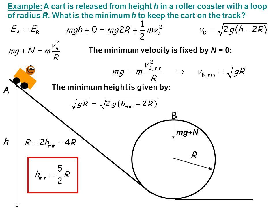 Example: A cart is released from height h in a roller coaster with a loop of radius R. What is the minimum h to keep the cart on the track